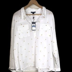 Tommy Hilfiger Embroidered Cotton Popover Blouse